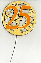 Silberhochzeit 25 Geburtstag Zahlenstecker Holz Schmuckzahl für Torten Blumen Strauß Dekoration 8cm