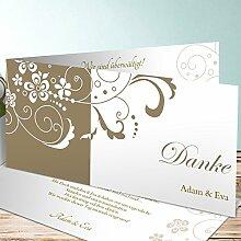 Silberhochzeit Danksagungskarten, Garten der Träume 70 Karten, Horizontale Klappkarte 210x100 inkl. weißer Umschläge, Braun
