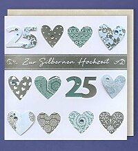 Silberhochzeit Grußkarte 25 Handmade Applikation viele silberne Herzen Zur silbernen Hochzeit 21x21cm