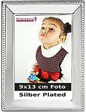 Silberkanne Bilderrahmen Perlrand für 9x13cm