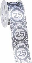 Silberne Hochzeit Dekoration Geschenkband mit Zahl 25 Dekoration zur Silberhochzeit 25.Geburtstag 25.Jubiläum Party oder andere Anlässe