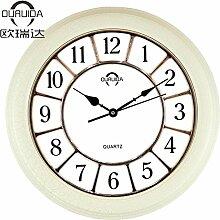 Silent Fashion Creative modern Europäische Pastoral minimalistisch Tisch Clock Wohnzimmer Wand Uhr 40 cm