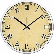 Silent Nicht-Ticking Wanduhr- Metallrahmen Glasabdeckung, Home Decorative Wanduhr (Weinlese Rom) Ø: 35 cm