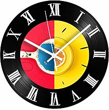 Silent Vinyl Uhr römische Ziffern rot Ywood Tisch