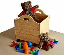 silenta Bio Kindermöbel Spielzeugkiste Bär aus Holz, mit Rollen, Bio Qualität ohne Schadstoffe, direkt vom deutschen Hersteller (geölt naturfarbig)