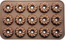 Silicone Gold Donut Backform Praline, Marron,