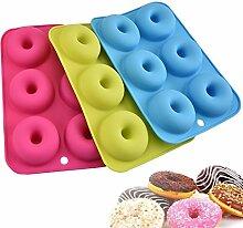 Silikon (3 Stück) Donut Formen, Masstimo 6 Mulden