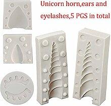 Silikon Einhorn Horn Backform Einhorn Cake Topper mit Augen und Ohren Form Set 5Stück für Fondant Schokolade Sugarcraft Decorating