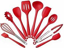 Silikon Geschirr 10 stücke Antihaft Kochgeschirr Set Grün Küche Werkzeuge Backenwerkzeuge Farbe Boxed Geschenke (Rot Schwarz) ( Color : Rot )