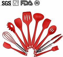 Silikon Küchenutensilien, 10 Stück Premium Silikon Kochset, Hitzebeständiges und Nonstick Küchengerät Set BPA frei, Spülmaschinen-Safe, Silikon-Geschirr, Dahen (Rot)