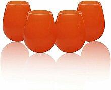 Silikon-Weinglas, Transparente Silikagel-Bierschale Im Freien Unbreakablebeverage Cup (4 Stück),Orange