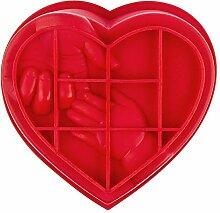 Silikonform, Herz mit Händen, 17cm bis 18cm, 6cm
