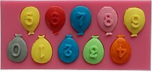 Silikonform Luftballon Zahlen Zahl Nummern Nummer