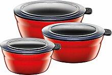 Silit Vorratsdose Fresh Bowls Set, Energy Red rund Silargan Funktionskeramik Multifunktions Schale mit luftdichtem Aroma Deckel zum Vorbereiten, Aufbewahren und Servieren, 3 teilig