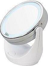Silk'n Schmink-Spiegel mit 1-/5-fach Vergrößerung und LED Beleuchtung, Doppelseitig, Drehbar, Ø 11 cm, Make-Up Spiegel, MLM1PEU001