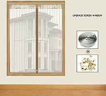 """Silk Road Mücke resistente Mesh-vorhang, Fenster-schutthalden Magnet fliegengitter tür insektenschutz Entfernbar Reißverschluss Anti-moskito-bug-vorhang-Beige 39"""" x 39"""