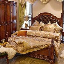 Silk satin comforter set soft bequeme bettwäsche 6 Stücke -A King