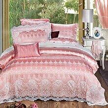 Silk Sheet set 4 Stück,Ultra soft silky hypoallergenic luxury bettwäsche 1 Quilt cover, 1 Sheet, 2 Kissenbezüge - 4 Stück,Pink-A Queen1