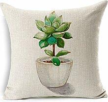 """SilkCrane Kissenbezug, Artificial Flower Printed Cotton Linen Decorative Throw Pillow Cover, 17.7"""""""" x 17.7"""