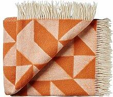 Silkeborg Designed by Ratzer: creme-rostorange Merino Wolldecke 'Twist a Twill', 100% peruanische Hochlandwolle, 130x190 cm mit Fransen