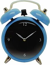 Silly Glas Wanduhr Twinbell mit Wecker Motiv blau