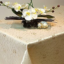 Silver Damast Tischdecke Rosen Rosenmuster 135x180 cm Oval hellbraun
