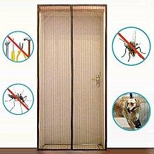 Silver_river Fliegengitter Tür Insektenschutz Magnet Fliegenvorhang 90*210,100*220-Kinderleichte Klebemontage-Ganz Ohne Bohren (90*210, braun)