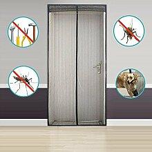 Silver_river Fliegengitter Tür Insektenschutz Magnet Fliegenvorhang 90*210,100*220-Kinderleichte Klebemontage-Ganz Ohne Bohren (90*210, schwarz)
