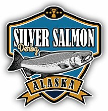 Silver Salmon Alaska Fishing Emblem -