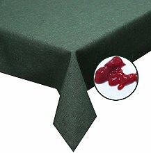 Silver Tischdecke dunkel grün 160cm rund abwaschbar in Leinenstruktur , sogar Ketchup lässt sich mühelos mit einem feuchten Tuch abwaschen!Schmutz- und Wasserabweisend, eckig - Größe, Farbe & Form wählbar (Rund Eckig Oval)