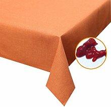 Silver Tischdecke hell Terrakotta 135x200cm abwaschbar in Leinenstruktur , sogar Ketchup lässt sich mühelos mit einem feuchten Tuch abwaschen!Schmutz- und Wasserabweisend, eckig - Größe, Farbe & Form wählbar (Rund Eckig Oval)