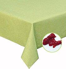Silver Tischdecke zart hell grün 130x160cm abwaschbar in Leinenstruktur , sogar Ketchup lässt sich mühelos mit einem feuchten Tuch abwaschen!Schmutz- und Wasserabweisend, eckig - Größe, Farbe & Form wählbar (Rund Eckig Oval)