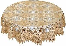 Simhomsen Beige Spitze Tischdecke bestickt Leinen