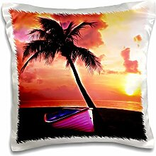 Simone Gatterwe Photo Landscape - A dream beach with sunrise. Under a palm tree stands a pink boat - 16x16 inch Pillow Case (pc_201097_1)
