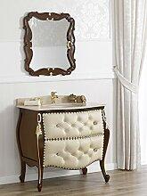 Simone Guarracino Kommode mit Waschbecken gewölbt mit Spiegel Französisch Barock-Stil Walnut Marmor Farbe Creme mit Kunstleder Weiss Swarovski Knöpfen