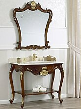 Simone Guarracino Konsolentisch mit Waschbecken und Spiegel Englisch Barock- Stil walnuss Eigenschaften Blattgold Marmor Farbe creme