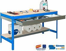 simonrack 448100945127592 Kit BT/3 Box 1200-Set Werkbank blau/Holz
