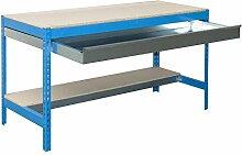 simonrack 448100945127592Kit BT/3Box 1200-Set Werkbank blau/Holz