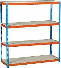 simonrack simonforte 1809–4Plywood-Set Regal blau/orange/Holz
