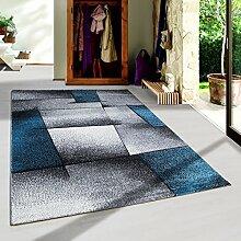 SIMPEX Moderner Design Konturschnitt Kurzflor Guenstige Teppich abstrakte Linien Schwarz Grau Weiss Turkis meliert 5 Groessen Wohnzimmer ver. Farben u. Groeßen, Größe:80x150 cm