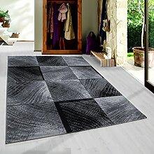 SIMPEX Moderner Kurzflor Guenstige Teppich Karo Baumrinde Schwarz Grau Weiss meliert 5 Groessen Wohnzimmer, Jugendzimmer, meliert Kinderzimmer, Größe:120x170 cm