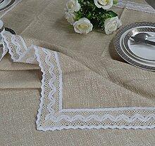 Simple modern beige fabric cotton leinen round table tuch Tischtuch Tischtuch Tee tischdecke-B 130x180cm(51x71inch)