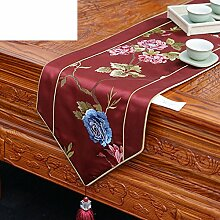 Simple New Chinese Luxury Tisch Table Flag,Simple Fashion Table Flag Bed Flag-A 30x200cm(12x79inch)