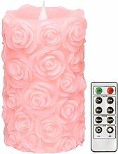Simplux Hochzeitskerze Jahrestagskerze LED Kerze, mit Timer & Fernsteuerungs, Tanzflamme 3D, batteriebetrieben, prägeartige Rose geformt, Valentinstag, 9 x15,2 cm (3,5 x 6 Zoll) Rosa