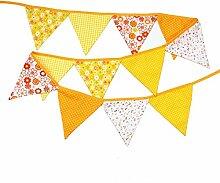 Simplydeko Wimpelkette | Wimpel-Girlande aus Baumwolle (Wimpelgirlande DIY Deko Party Kindergeburtstag) Wunderschönes Design (Gelb Weiss)