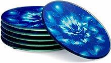 SimplyWRK 6 blaue Untersetzer in Geschenkbox, Set