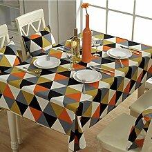 simpvale Moderne geometrische Triangle Muster Tischdecke Baumwolle Canvas Stoff Tisch Cover Dekoration, orange, 90cm*90cm