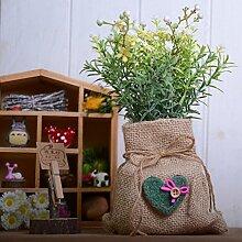 Simulation Blumen Topfpflanzen setzen Kreative vintage Leinen Beutel kleine Wildblumen home grüne Pflanze Dekoration, gelb