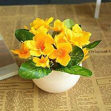 Simulation Der Pflanze Künstlichen Grünen Pflanzen Blumen Und Topfpflanzen Sukkulenten Bonsai Indoor Wohnzimmer Dekoration Dekoration Desktop, Gelb-A