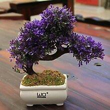 Simulation grüne Topfpflanzen, Pflanze Bonsai insgesamt Floral Simulation Blume Ananas Narzisse Set Home Bonsaicoffee Tisch gefälschte Blumen kleine Topfpflanzen ( Farbe : G , größe : 23*24CM )